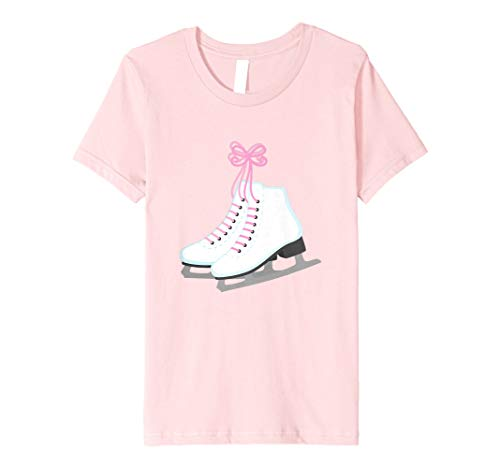 Kids Ice Skate Tee Shirt for Little Girls Ice Skater Pink Lover ()