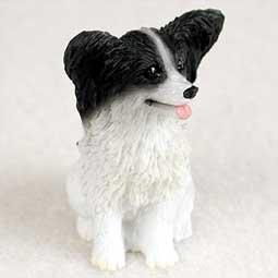 Papillon Miniature Dog Figurine - Black & White