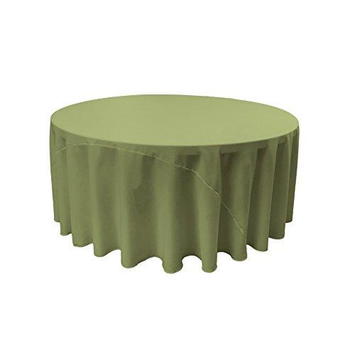 LA Linen Polyester Poplin Round Tablecloth, 132-Inch, Dark Sage