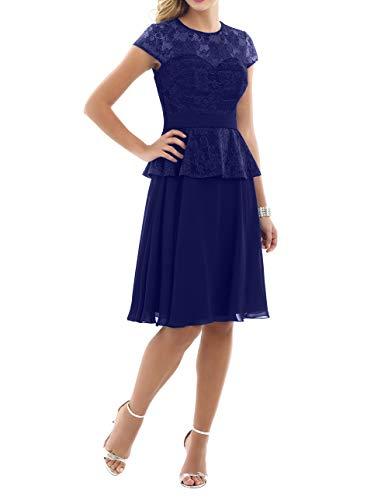Abendkleider Charmant A Kurzarm Dunkel Blau mit Brautjungfernkleider Linie Damen Knielang Rock Chiffon Partykleider Ballkleider Royal ppqECwr