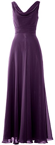 Gown Formal Eggplant Wedding Cowl Long Party Neck Dress MACloth Women Bridesmaid WOqzn8cgpg