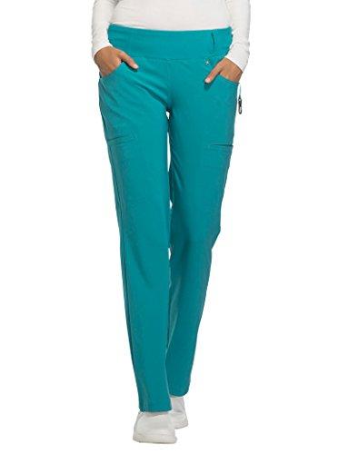 Cherokee Iflex Women's Knit Waistband Scrub Pant Small Teal Blue