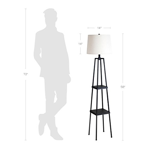 Catalina Lighting 21405-000 Transitional Distressed Iron Metal Etagere Floor Lamp with Shelves, Ivory Beige Linen Shade and 3-Way Switch, 58'', New Black by Catalina Lighting (Image #5)