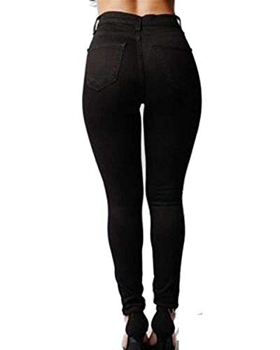 Alta Pantalones Leggings Ropa Lápiz Rasgados Cintura Las Flaco Mujeres Schwarz Estiramiento De Colores Bolsillos Vaqueros Sólidos Casuales Con wSISq4g