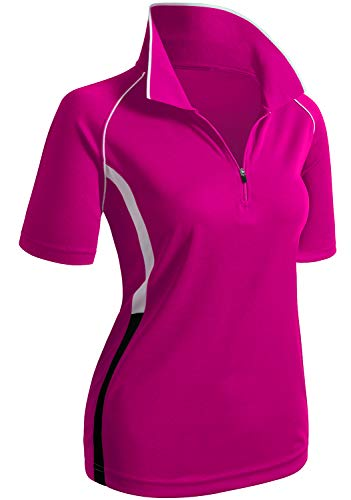 (CLOVERY Functional Fabric Wicking Material Clothing Short Sleeve Zipup Polo Shirt HOTPINK US S/Tag S)