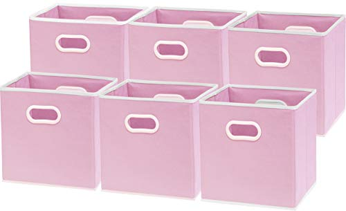 Pink Fabric Storage Bins (6 Pack - SimpleHouseware Cube Baskets with Handles, Pink (12-Inch)