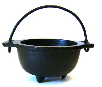 Cast Iron Cauldron w/handle, ideal for smudging, incense burning, ritual purpose, decoration, candle holder, etc. (4