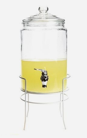 Circleware 67014 Hampshire Yorkshire Mason Jar Glass Beverage Dispenser with Silver Metal Stand Glassware for Water, Iced Tea Kombucha, Punch and all type of Cold Drinks 1.5 Gallon
