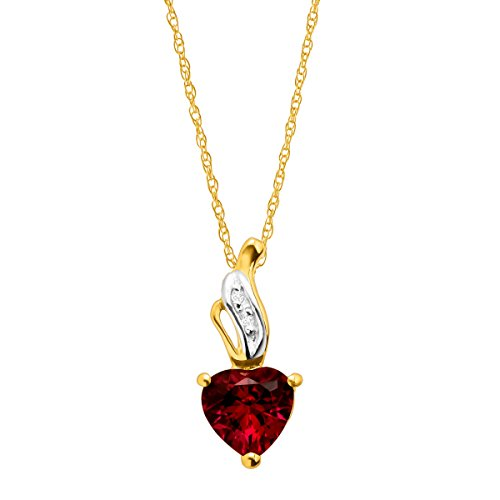 10k Gold Ruby Pendant (1 ct Created Ruby Heart Pendant Necklace with Diamonds in 10K Gold)