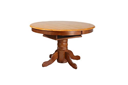 Sunset Trading Oak Selections Dining Room Set, Two Size Table | Round or Oval | Butterfly Leaf, Medium Walnut with Light…