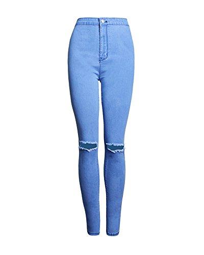 Donne Jeans Pantaloni Ginocchio Vita Delle Blu Legging Strappato A Sexy Skinny Alta Donna nwT6CqYY