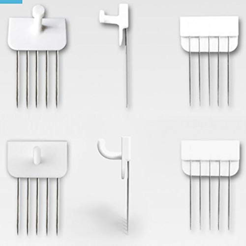 Reusable Multipurpose Wall Hook White 5PCS Decorative Pin Stick Hooks Office Partition Panel Hanger Home Kitchen(Flat- 5 Hooks)
