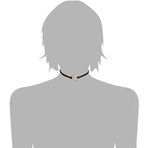KnSam Ras du Cou Choker Collier Acier Inoxydable Velours Hollow Cercle Or Brun [Fille Gothique]