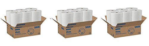 - Kleenex Hard Roll Paper Towels (50606) with Premium Absorbency Pockets, White, 6 Rolls/Case, 3,600 feet (3-CASES)