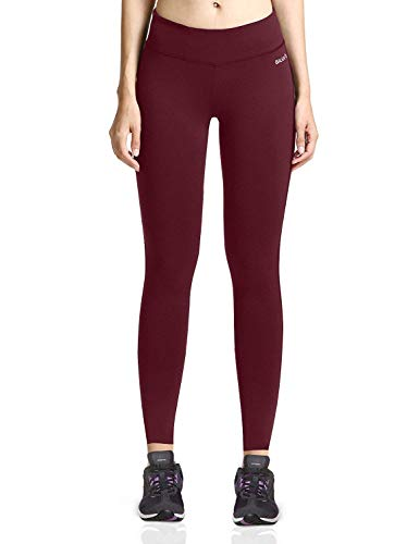 (Baleaf Women's Ankle Legging Yoga Pants Inner Pocket Non See-Through Ruby Wine Size M)