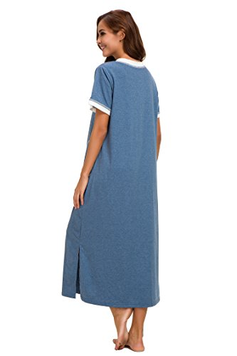 Supermamas Long Nightgown Womens Cotton Knit Short Sleeve Nightshirt with Pockets(Blue, XL) by Supermamas (Image #4)