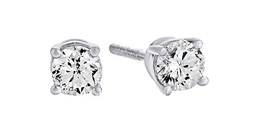 10K Solid White Gold Natural Diamond Solitaire Stud Earrings With Screw Back (0.5 Ct) Free & Fast Shipping (Diamond White Stud Genuine Gold)