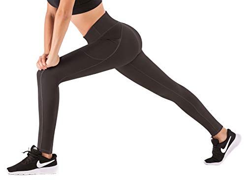 IUGA High Waist Yoga Pants with Pockets, Tummy Control, Workout Pants for Women 4 Way Stretch Yoga Leggings with Pockets(Dark Coffee S)