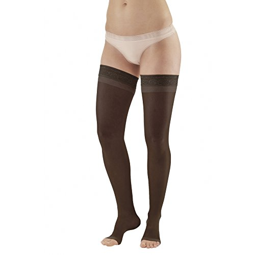Ames Walker AW Style 48 Sheer Support 20-30 Firm Compression, Open Toe Thigh High Stockings w Lace Band Black XXXLarge – Effective as Post sclerotherapy Treatment – Relieves Tired Swollen Legs
