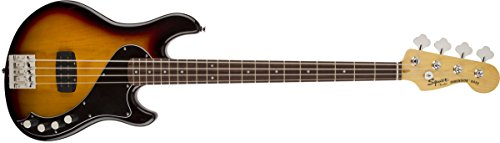 Squier by Fender Deluxe Dimension Bass Guitar IV Rosewood 3-Tone, Sunburst
