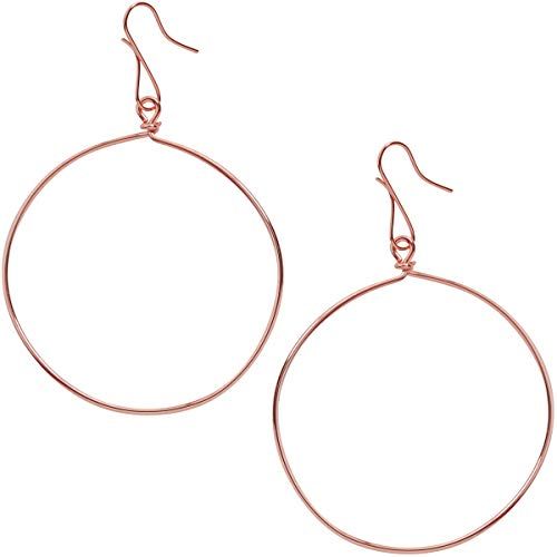 Humble Chic Circle Dangle Earrings - Hypoallergenic Geometric Thin Round Drop Hoops for Women, 18K Rose, Pink Gold-Electroplated