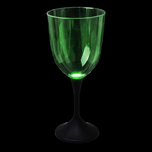 Fun Central P912 10oz LED Light Up Wine Glass Black Stem, LED Lights Glasses, Glass with LED, LED Drinking Glasses, Wine Glasses, Plastic Wine Glasses, Wine Glass Ornament, Plastic Wine Glass -