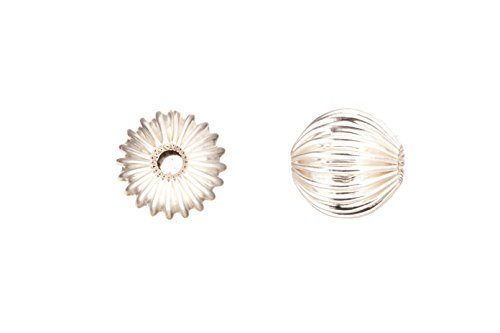 10pcs Round Corrugated Bead Silver-Plated Brass -