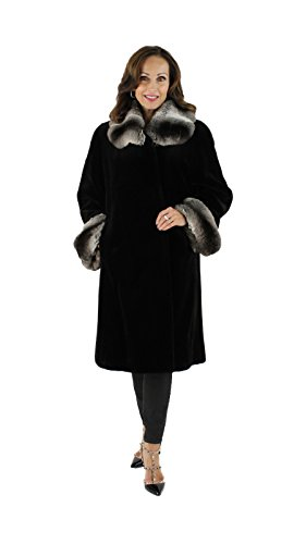 [Black Sheared Mink Coat with Chinchilla Cuffs] (Chinchilla Fur Coat)