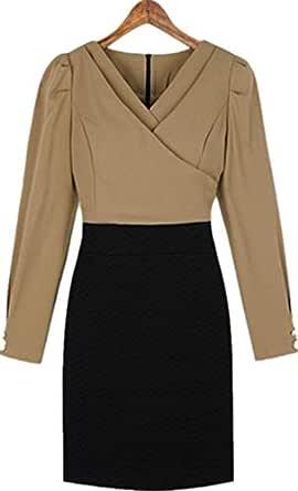Euramerican Elegant V Neck Sleeve Dress Career Dress Fashion Casual Dress For Women