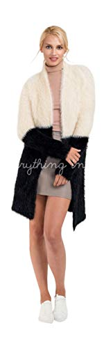 Do Everything in Love Color Block Angora Look Cardigan Coat Sweater One Size (Angora Cardigan Sweater)