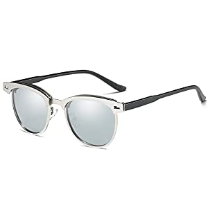 IALUKU Horn Rimmed Half Frame Wayfarer Sunglasses for Women Men Polarized Lens (Silver / Quicksilver, 48)