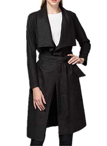 BIRAN Parka Femme Printemps Automne Longues Trench Mode Hipster Unicolore Manteau Elgante Manches Longues breal Revers avec Ceinture Coat Outerwear Noir