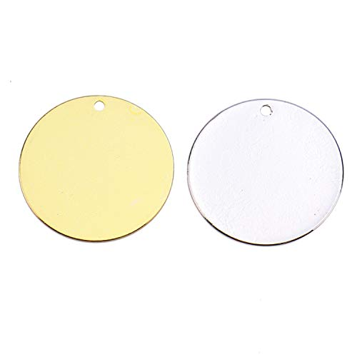 Monrocco 30pcs Brass Stamping Blanks - 20 mm  - Round Blank Stamping Tags Hole for Jewelry Making (Gold & Silver)