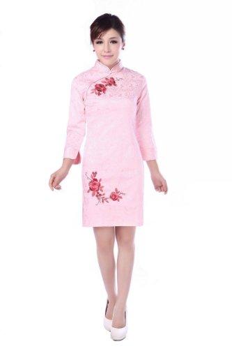 Jtc Cheongsam Chinese Dress Stand-collar Three-quarter Sleeve 2colors (M, Pink) ()