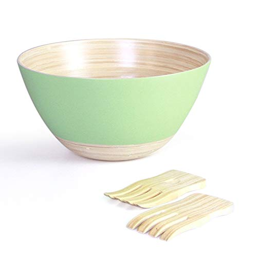Handymake Bamboo Salad Bowl Set With Servers- Includes: 1 Extra Large Salad Mixing Bowl, 2 Salad Hands - Ideal For Serving Salads, Pasta, Cereals, Porridge, Sauces - Mint Color