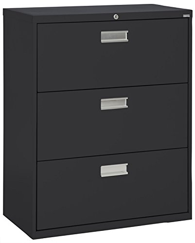 Sandusky Lee LF6A363-09 600 Series 3 Drawer Lateral File Cabinet, 19.25'' Depth x 40.875'' Height x 36'' Width, Black