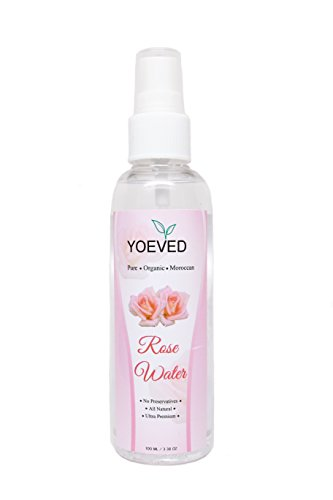 [Yoeved Pure Rose Water Hydrating Mist Toner | Natural, Organic w/ Antioxidants | Face, Hand and Body Skincare | Helps Soothe Skin, Diminish Acne, Original Rose Water - Made In Morocco, 100ML 3.38OZ] (Moisture Mist Hydrating Toner)