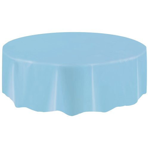 Round Plastic Tablecloth Light Blue