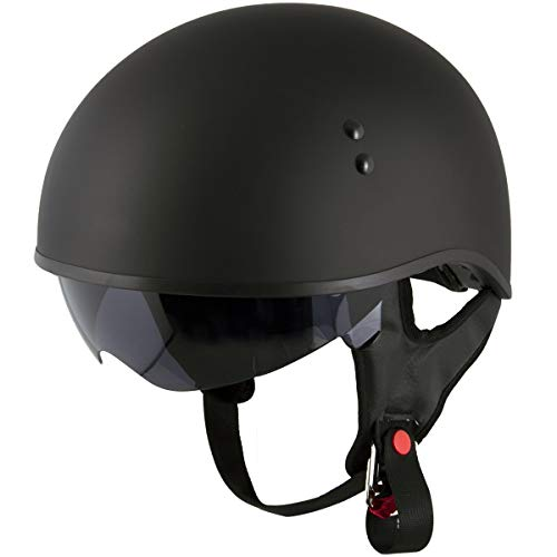 Outlaw T68 'Outlaw' Version 2 DOT Flat Black Motorcycle Skull Cap with Drop Down Visor - X-Large