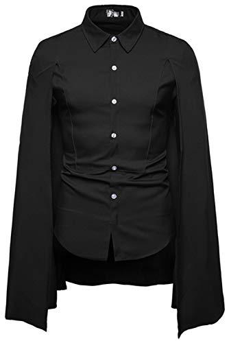 CosplayCos Mens Long Sleeve Shirts Medieval Wizard Cloak Black ()