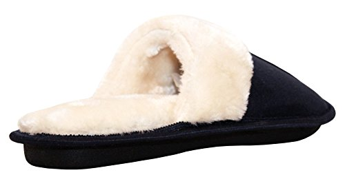 A&H Footwear Womens Ladies Slip On Ultra Soft Lightweight Memory Foam Faux Fur Lined Girls Cosy Mules Slippers UK Sizes 4-9 Navy LvI3zyHi