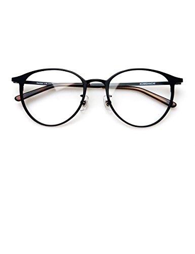 Komehachi - Ultra Light Slim Round Metal RX-Ready Clear Lens Eyeglasses Frame