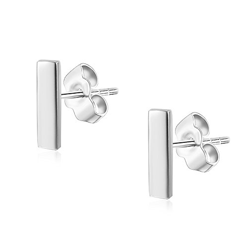(Womens Sterling Silver Tiny Bar Studs Push-Back Earrings in Sterling Silver White Gold Finish)