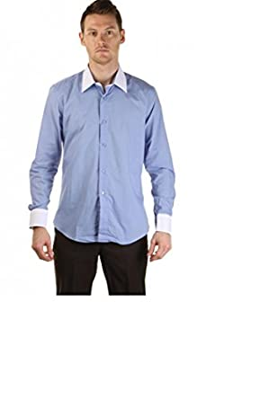 2 colors blue shirt white collar and cuffs for men blue for Mens dress shirts with different colored cuffs and collars