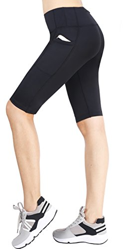 Zinmore Women's Running Cycling Shorts Exercise Workout Yoga Shorts Half Pants with Pockets Black - Bike 5 Inch Lycra Short