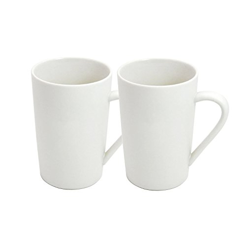 YINUOWEI Simple Pure White Large Ceramic Coffee Milk Cup Porcelain Mugs, 12oz, Set of 2