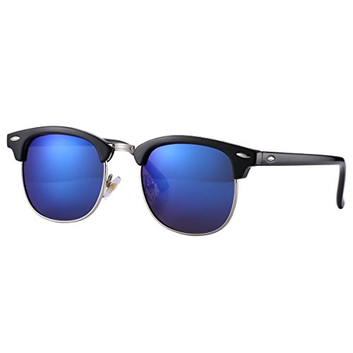 Pro Acme (Pack of 2) Semi Rimless Polarized Clubmaster Sunglasses for Men Women Bright Black Frame/Black Lens + Bright Black Frame/Blue Mirrored Lens