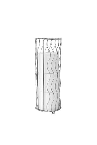 Inspired Living Toilet Paper Holder Reserve Stand Holds 3 Standard Rolls in Silver Vista Collection TP Tower, ()