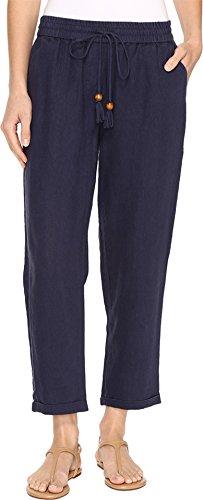 Hatley Women's Cuffed Cotton/Linen Pants Navy Pants Linen Cuffed Pant
