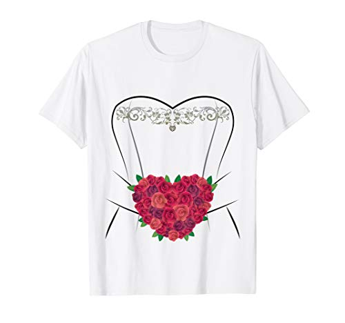 Wedding Dress T Shirt, Simple Marriage Bridal Shower ()